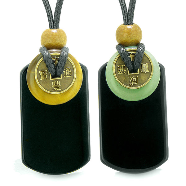 Cool Agate Tag Tiger Eye Green Quartz Lucky Coin Donut Amulets Love Couples or Best Friends Necklaces