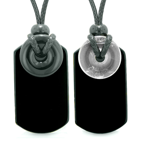 Cool Black Agate and Crystal Quartz Lucky Magic Donut Tag Amulets Love Couples or Best Friends Necklaces