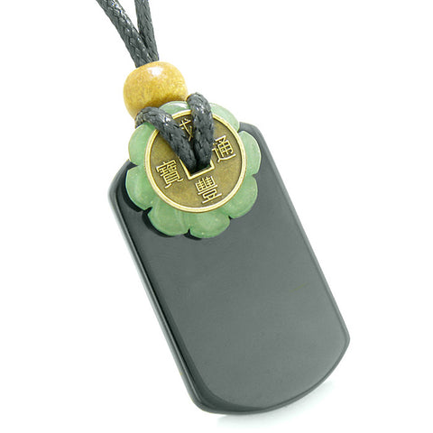 Cool Black Agate Tag and Green Quartz Lucky Coin Celtic Donut Amulet Magic Powers Pendant Necklace