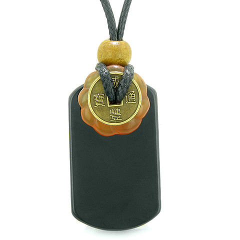 Cool Black Agate Tag and Carnelian Lucky Coin Celtic Donut Amulet Magic Powers Pendant Necklace