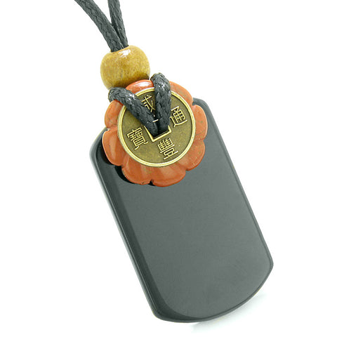 Cool Black Agate Tag and Red Jasper Lucky Coin Celtic Donut Amulet Magic Powers Pendant Necklace