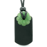 Cool Black Agate Tag and Green Quartz Lucky Celtic Flower Donut Amulet Magic Powers Pendant Necklace
