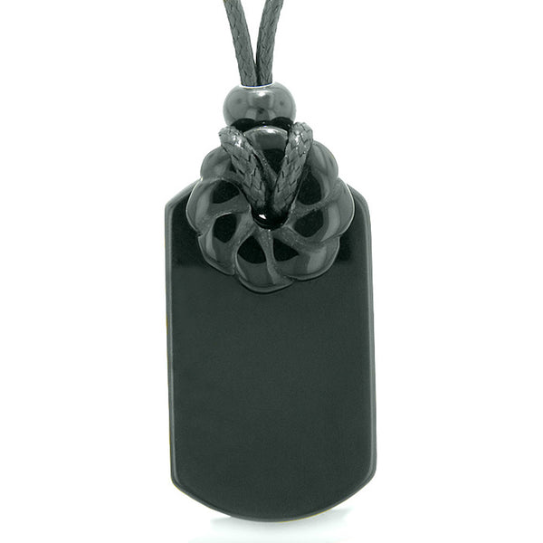 Cool Black Agate Tag and Lucky Celtic Flower Donut Amulet Magic Spiritual Powers Pendant Necklace