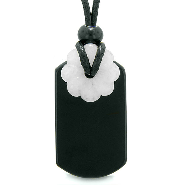 Cool Black Agate Tag and Snowflake Quartz Lucky Celtic Flower Donut Amulet Magic Powers Pendant Necklace