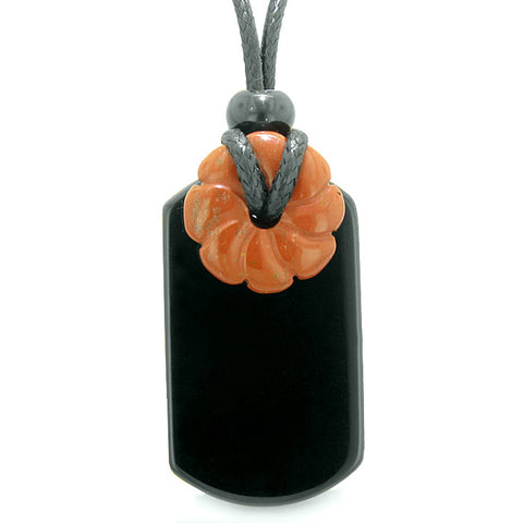 Cool Black Agate Tag and Red Jasper Lucky Celtic Flower Donut Amulet Magic Powers Pendant Necklace