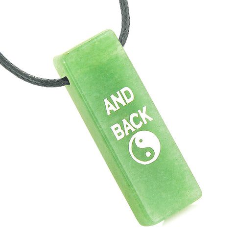 I Love You to the Moon and Back Reversible Amulet Yin Yang Energy Tag Green Quartz Necklace