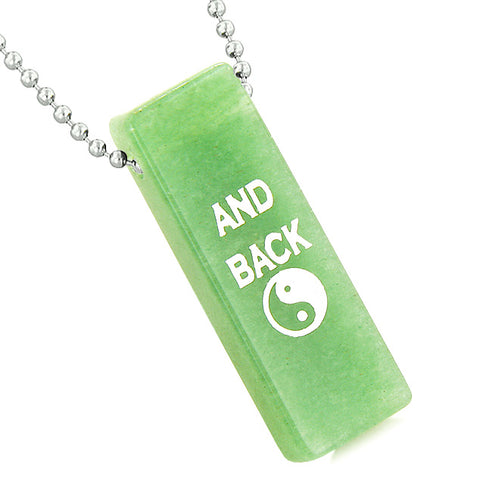 I Love You to the Moon and Back Reversible Amulet Yin Yang Energy Tag Green Quartz 18 Inch Necklace