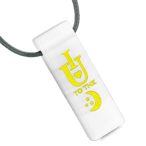 I Love You to the Moon and Back Yin Yang Energy Amulet Tag White Simulated Cats Eye Necklace
