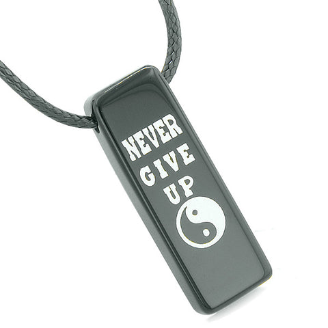 Never Give Up Reversible Amulet Balance Energy Yin Yang Powers Tag Black Agate Necklace