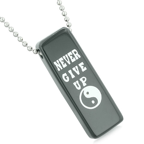 Never Give Up Reversible Amulet Yin Yang Balance Energy Powers Tag Black Agate Pendant Necklace