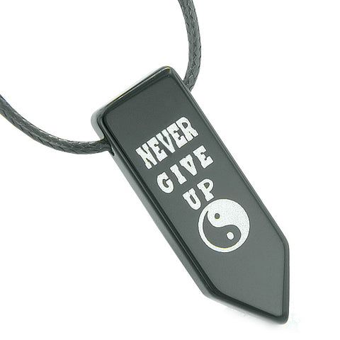 Never Give Up Reversible Amulet Yin Yang Balance Energy Powers Arrowhead Black Agate Necklace