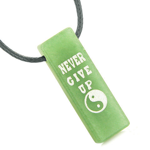 Never Give Up Reversible Amulet Yin Yang Balance Energy Powers Tag Green Quartz Necklace