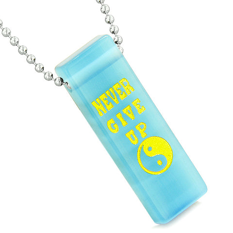 Never Give Up Reversible Amulet Yin Yang Powers Tag Sky Blue Simulated Cats Eye Pendant Necklace