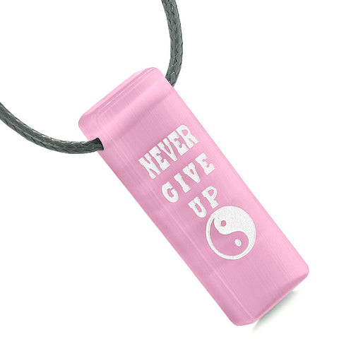 Never Give Up Reversible Amulet Balance Energy Yin Yang Powers Tag Pink Simulated Cats Eye Necklace