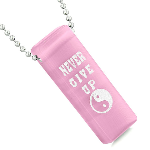 Never Give Up Reversible Amulet Yin Yang Powers Tag Pink Simulated Cats Eye Pendant Necklace