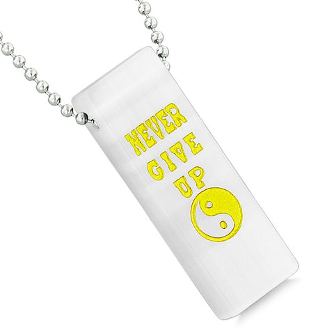Never Give Up Reversible Amulet Powers Yin Yang Tag White Simulated Cats Eye Pendant Necklace