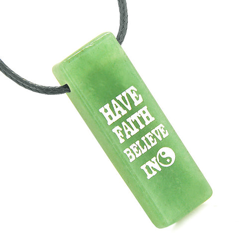 Have Faith Believe in Miracles Reversible Yin Yang Energy Amulet Tag Green Quartz Pendant Necklace