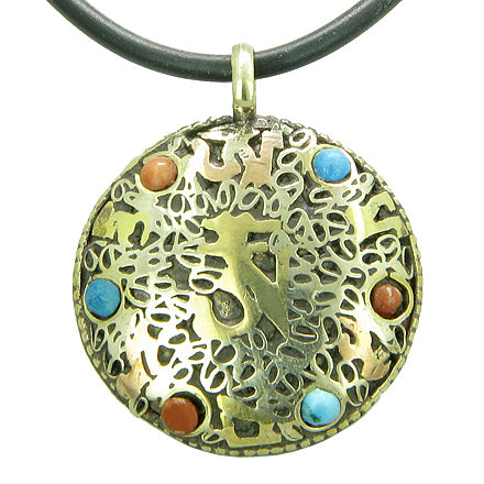 Amulet Tibetan OM Mani Padme Hum Mantra Magic Symbols Circle Turquoise Beads Pendant Necklace