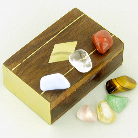 Small Treasure Chest Chakra Powers Wish Box With Gemstones
