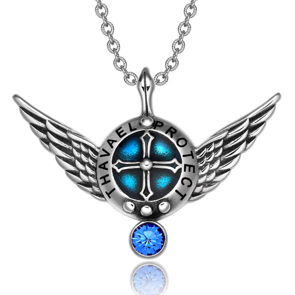 Archangel Thavael Angel Wings Shield Protection Magic Power Amulet Pendant Necklace