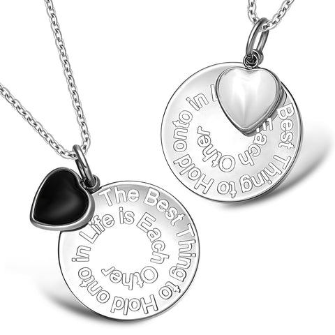 The Best Thing to Hold onto in Life Inspirational Heart Love Couples Set Necklace