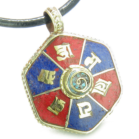 Amulet Tibetan Mantra Om Mani Padme Hum Infinity Turquoise Lapis Magic Medallion Necklace