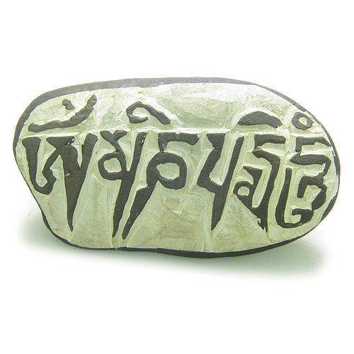 Ancient Powers Doublesided All Seeing Buddha Tibetan Mantra Amulet Carved Mani Stone Keepsake Totem
