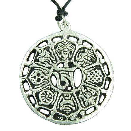 Amulet Tibetan Om Mantra Secret Magic Words Pendant with Adjustable Necklace Cord