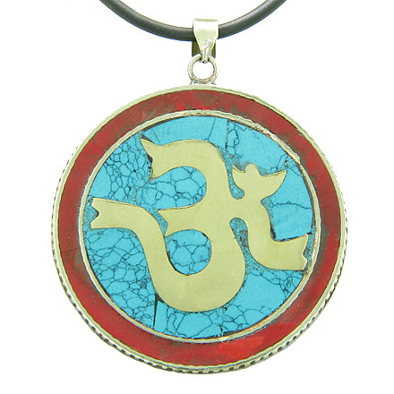 Amulet Tibetan Om Hindu Magic Circle Symbol Turquoise Multicolor Gemstone Pendant Necklace
