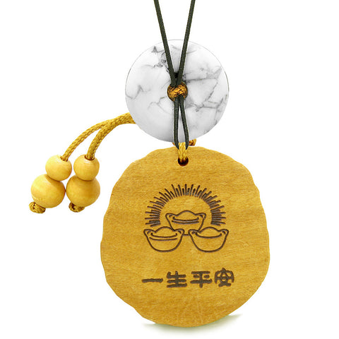 Fortune Coins Magic Todd Car Charm or Home Decor White Howlite Lucky Donut Protection Powers Amulet