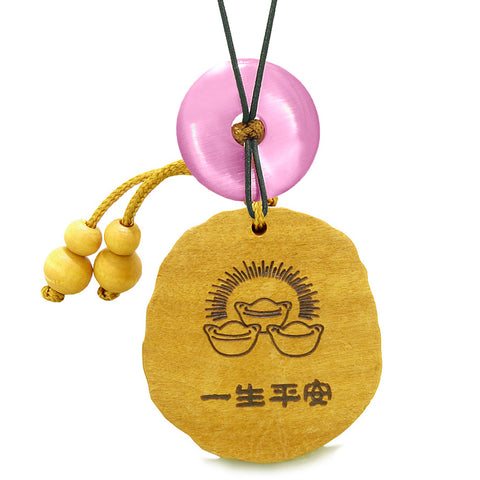 Fortune Coins Magic Todd Car Charm or Home Decor Pink Simulated Cats Eye Lucky Donut Protection Amulet