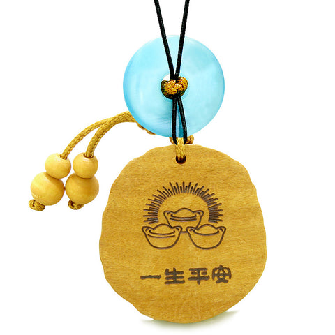 Fortune Coins Magic Todd Car Charm or Home Decor Blue Simulated Cats Eye Lucky Donut Protection Amulet