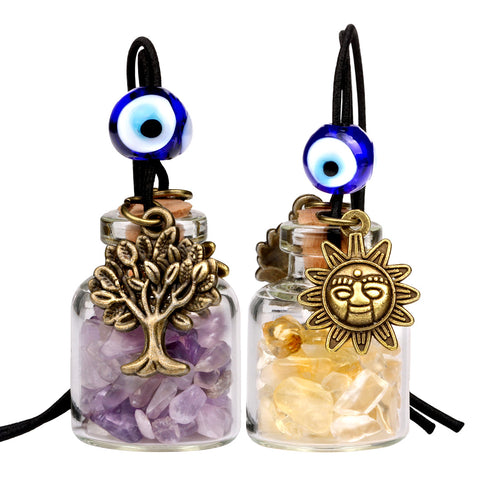Tree of Life Magic Sun Powers Small Car Charms or Home Decor Gem Bottles Amethyst Citrine Amulets