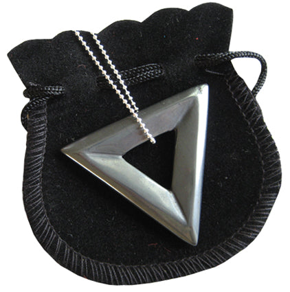 Positive Judgment Talisman Triangle Donut In Hematite With Chain