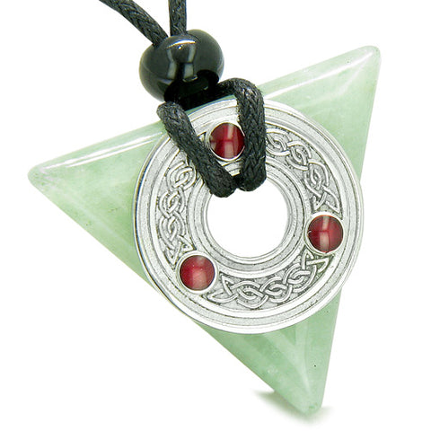 Amulet Celtic Triquetra Knot Trinity Magic Triangle Good Luck Green Aventurine Pendant Necklace