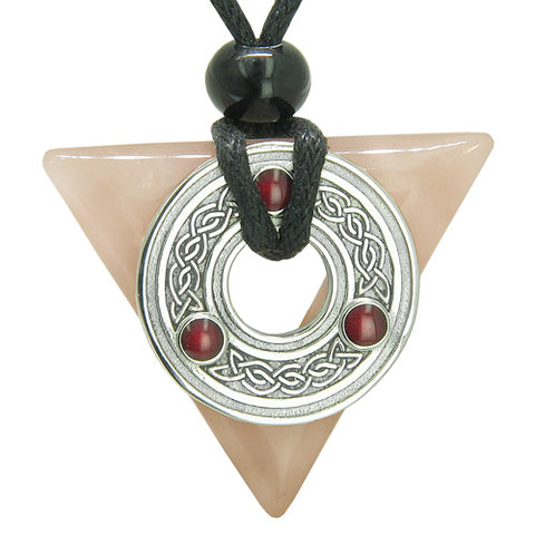 Amulet Celtic Triquetra Knot Trinity Magic Triangle Love Energies Rose Quartz Pendant Necklace