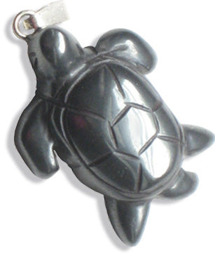 Evil Eye Protection Turtle Pendant In Hematite