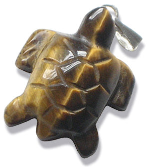 Good Luck Turtle Pendant In Tiger Eye