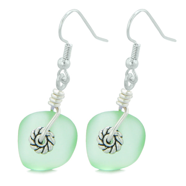 Twisted Twincies Cute Frosted Sea Glass Good Luck Charms Mint Green Amulet Earrings