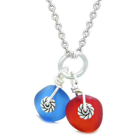 Twisted Twincies Cute Frosted Sea Glass Lucky Charms Royal Red Ocean Blue Amulets 22 Inch Necklace