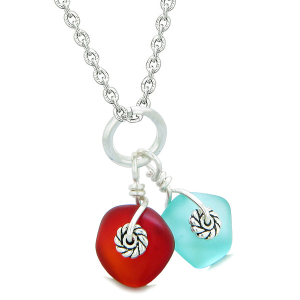 Twisted Twincies Cute Frosted Sea Glass Lucky Charms Aqua Blue Royal Red Amulets 22 Inch Necklace