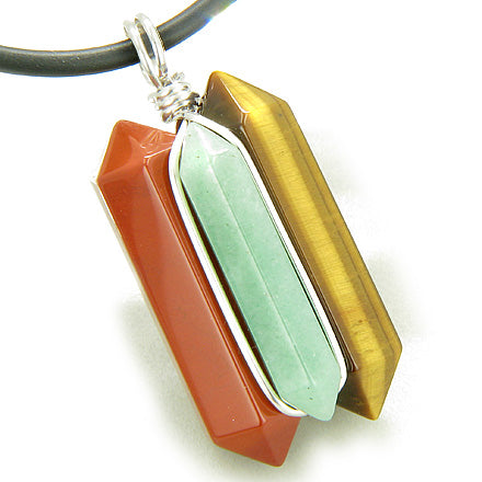 Universe Positive Energy Amulet Silver Triple Lucky Point Red Jasper Aventurine Tiger Eye Necklace