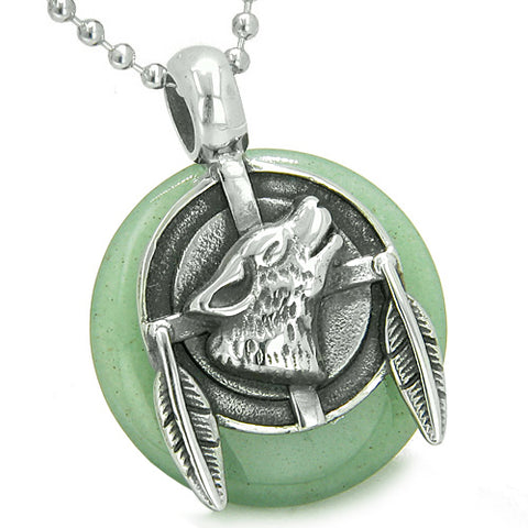 Amulet Howling Wolf Feathers Medallion Good Luck Powers Aventurine Lucky Donut Pendant Necklace