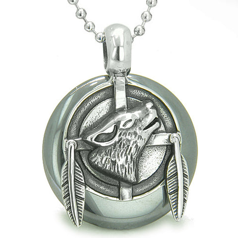 Amulet Howling Wolf Feathers Medallion Protection Powers Hematite Lucky Donut Pendant Necklace