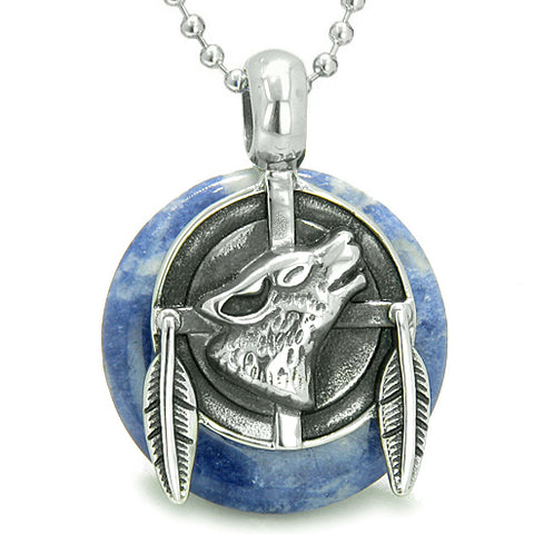 Amulet Howling Wolf Feathers Medallion Good Luck Powers Sodalite Lucky Donut Pendant Necklace