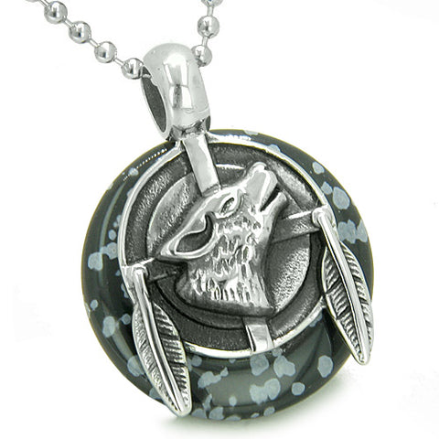 Amulet Howling Wolf Feathers Medallion Protection Snowflake Obsidian Lucky Donut Pendant Necklace
