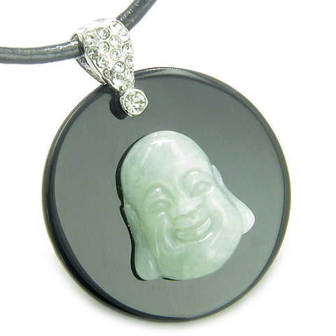 Amulet Happy Laughing Buddha Medallion in Black Onyx Green Jade Magic Powers Pendant Necklace