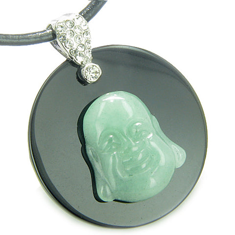 Amulet Happy Laughing Buddha Medallion in Black Onyx Green Aventurine Magic Pendant Necklace