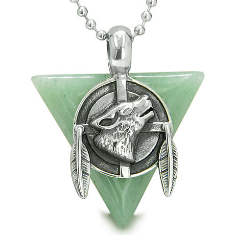 Amulet Arrowhead Howling Wolf Trinity Dreamcatcher Triangle Protection Aventurine Pendant Necklace