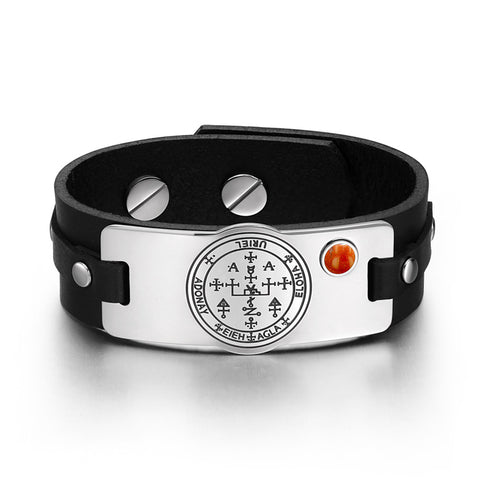 Archangel Uriel Sigil Magic Powers Amulet Tag Red Jasper Gemstone Adjustable Black Leather Bracelet